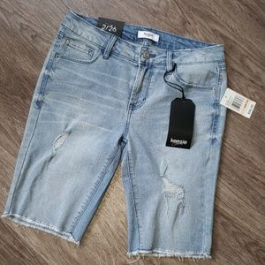 Kensie Jeans Distressed Cut Off Denim Shorts 2/26